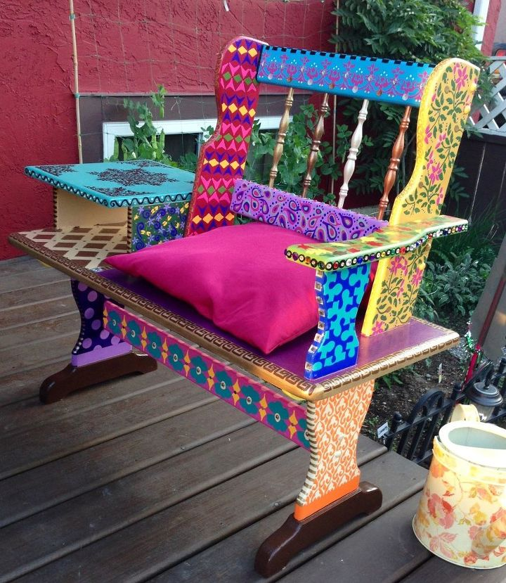 Funky hand painted bench hometalk for Painted outdoor benches