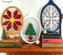 christmas decor repurpose vintage tennis rackets cross stitch, christmas decorations, crafts, repurposing upcycling, seasonal holiday decor