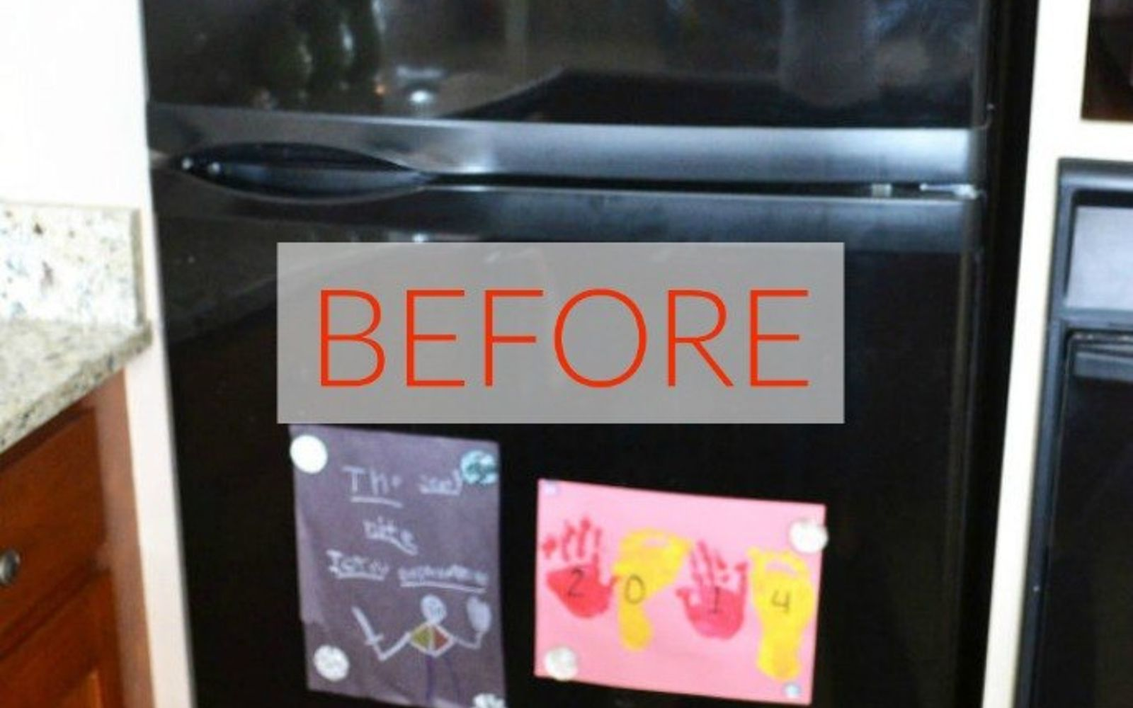 s don t buy new appliances these 9 diy hacks are brilliant, appliances, Before A glossy black and reflective fridge