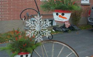 snowman hanging planter, gardening