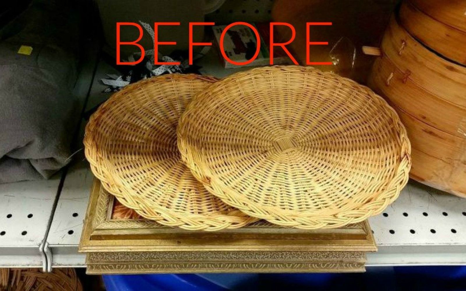 s make wicker trendy again with these brilliant ideas, painted furniture, Before Thrift store paper plate holders