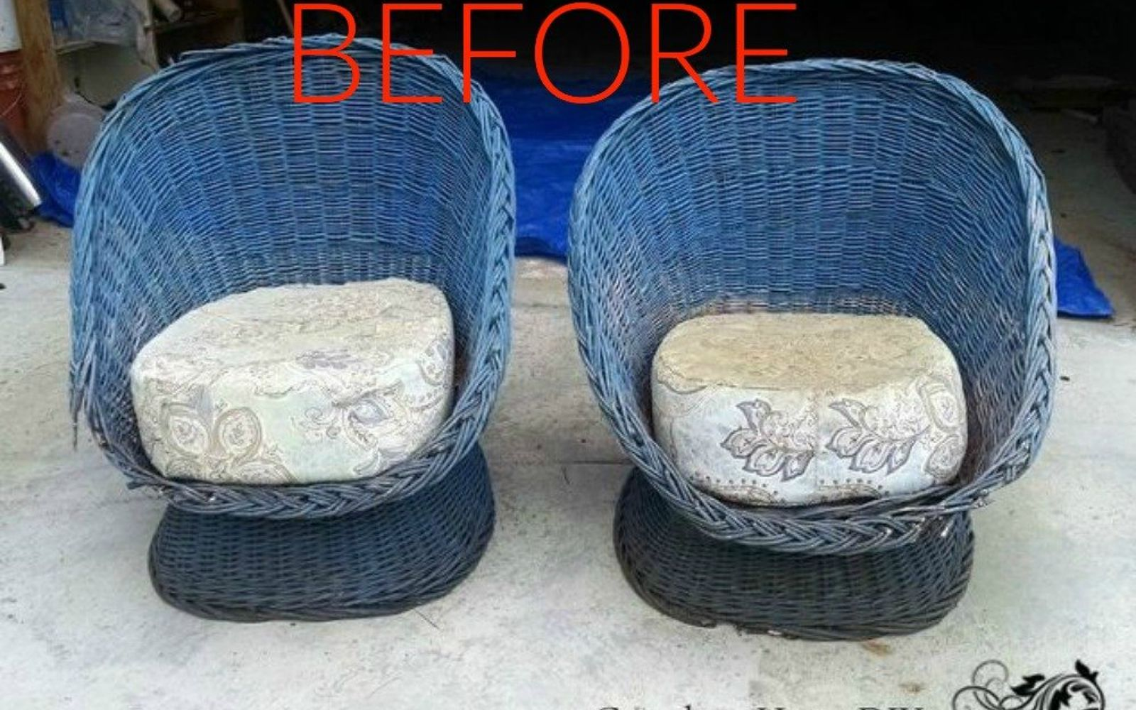 s make wicker trendy again with these brilliant ideas, painted furniture, Before Two deep seated wicker chairs