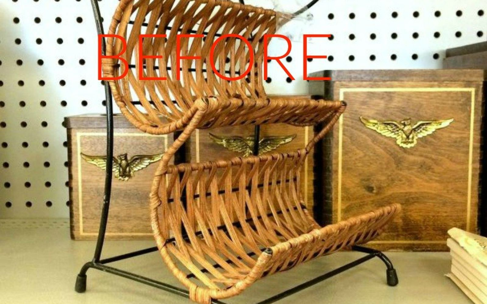 s make wicker trendy again with these brilliant ideas, painted furniture, Before A thrift store wine rack