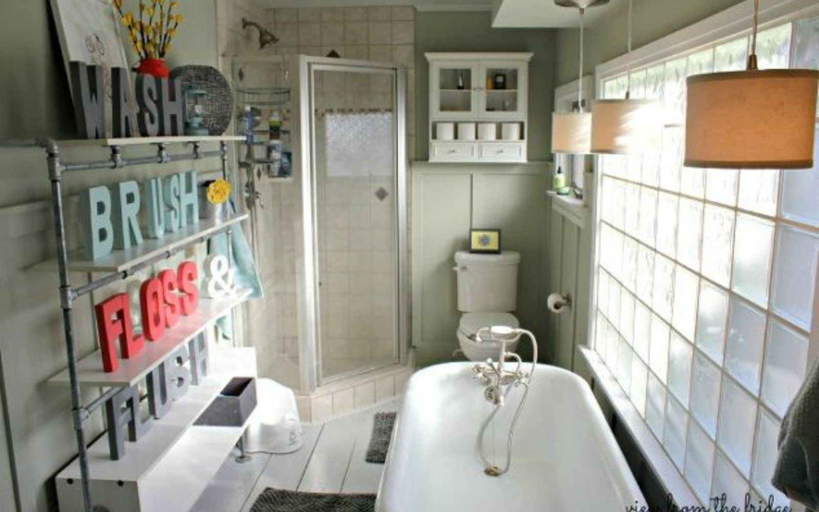 s give your kids the coolest bathroom with these 13 jaw dropping ideas, bathroom ideas, Add block letters to shelving