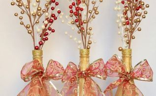 how to repurpose empty wine bottles into christmas decor, christmas decorations, home decor, how to