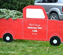 red truck christmas tree outdoor christmas decor, christmas decorations, home decor