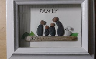 pebble art family frame, crafts