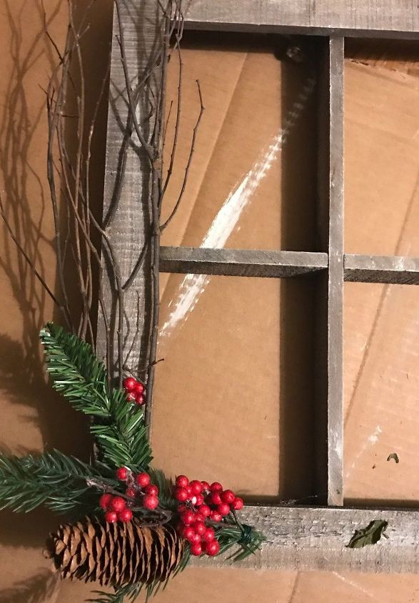 Turn this boring wood window frame into something special for Next home xmas decorations