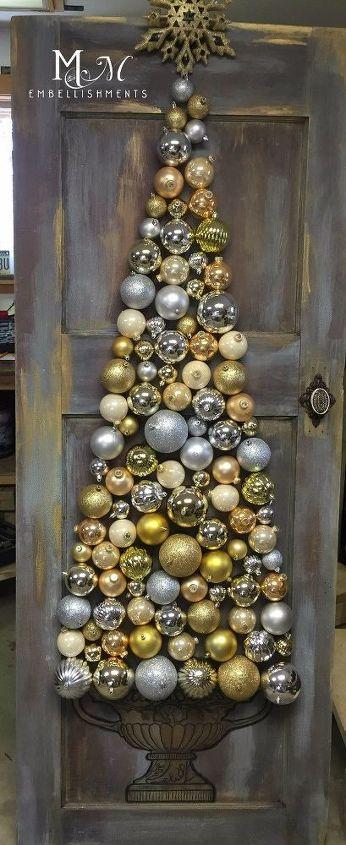 Great Christmas Craft Using Old Vintage Wood Door Hometalk