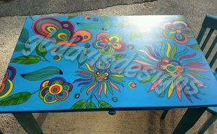 colorful children s table and chairs, painted furniture