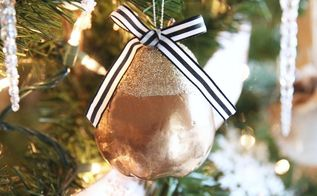 diy glitter pear christmas ornament from the dollar tree, christmas decorations, seasonal holiday decor