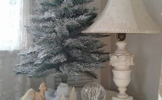french nordic christmas styling , Flocked tree Alabaster lamp