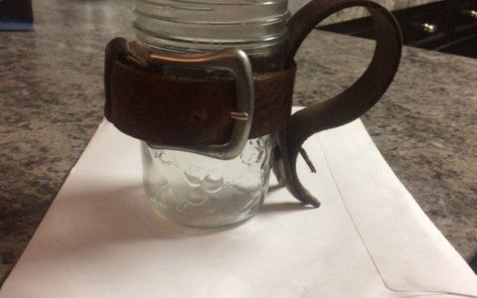s 14 exciting mason jar ideas you just have to try, mason jars, 8 The leather mason jar tool caddy