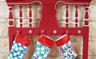 headboard turned into stocking hanger