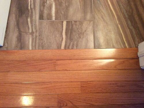 Hardwood Floor Transition floor transition example 4 steps in a staircase Between Bathroom And Hall