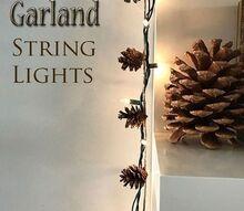 pinecone string lights garland, gardening