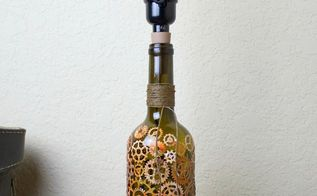 steampunk wine bottle lamp diy, lighting