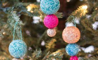 sparkling glitter ball ornaments, christmas decorations, seasonal holiday decor