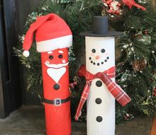 santa and frosty from cedar fence post rails, fences, woodworking projects
