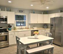 outdated dark kitchen remodel into a bright cheery coastal kitchen, home improvement, kitchen design