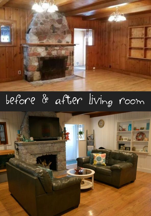 Our dark and dreary cabin into a bright and cheery coastal for Living room vs den