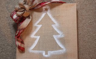 my burlap canvas christmas tree wall art, crafts