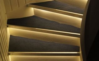 stair makeover with accent lighting, lighting, stairs