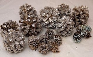sparkling decorations how i lighten glitter pine cones, gardening, woodworking projects