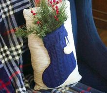 diy sweater stocking pillow