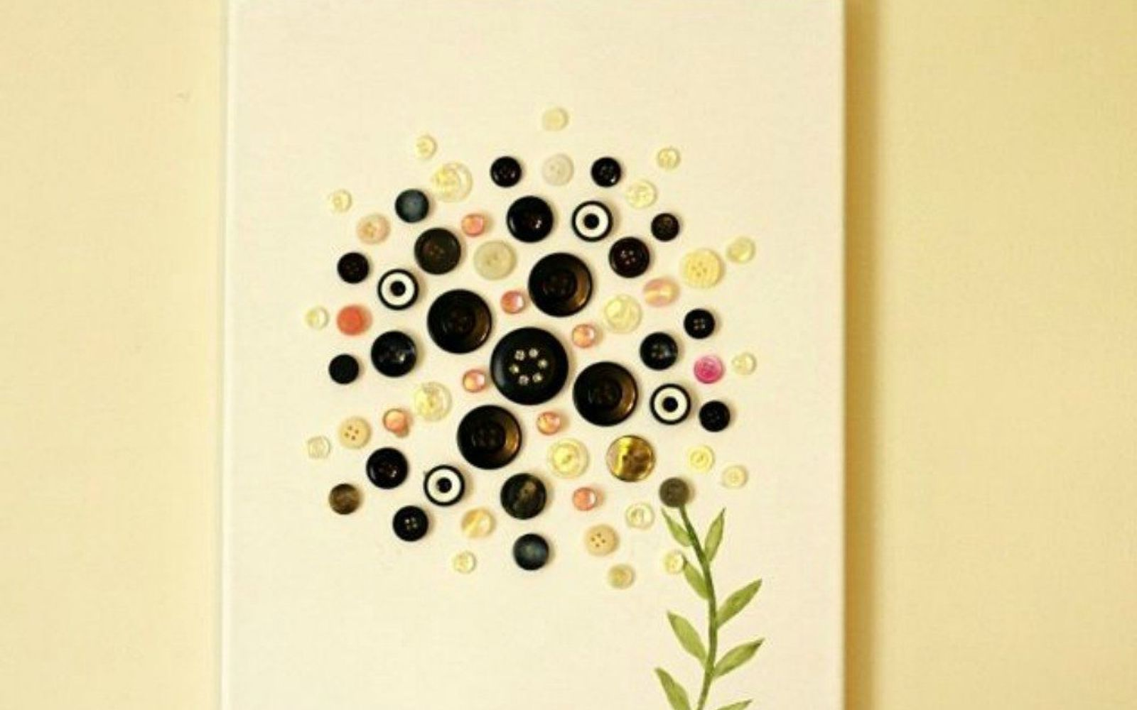 s 15 quick and easy gift ideas using buttons, Style them to create pretty canvas art
