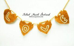 valentine s day felted heart garland, seasonal holiday decor, valentines day ideas
