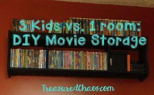 reclaimed headboard turned movie storage, storage ideas