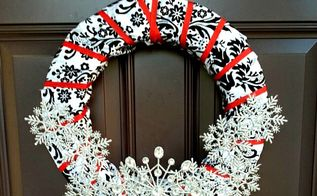 damask and ribbon snowflake wreath, crafts, wreaths