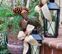 decorating with pinecones branches, gardening