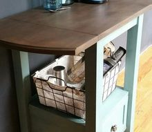 diy coffee bar from an old table, outdoor living, painted furniture