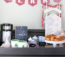 a festive christmas coffee and cocoa bar, outdoor living, painted furniture