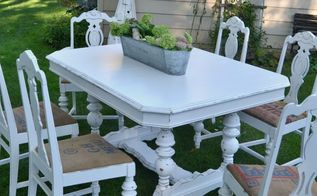 white farmhouse table makeover, painted furniture