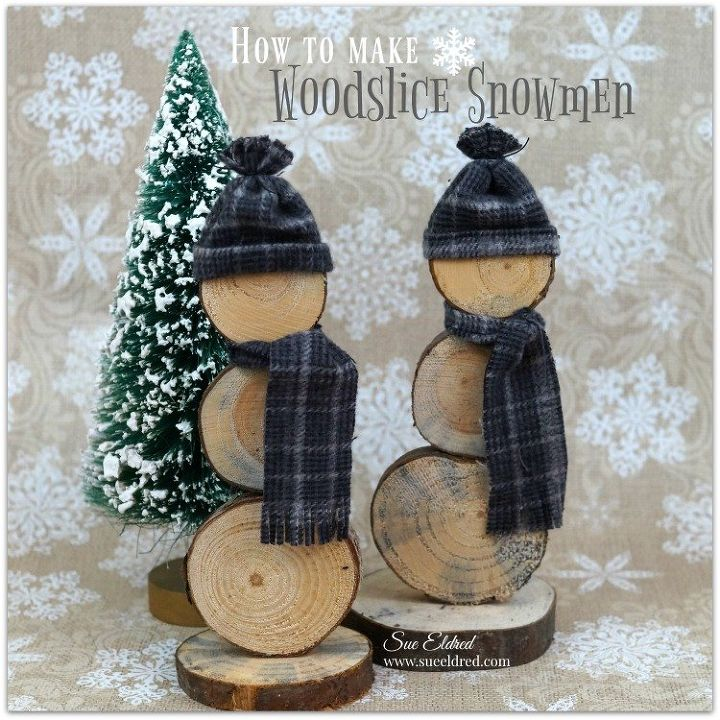 Diy how to make wood slice snowmen hometalk for Log craft ideas