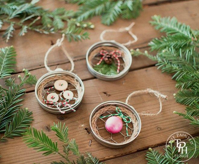Mason jar lid chicken wire christmas ornaments hometalk