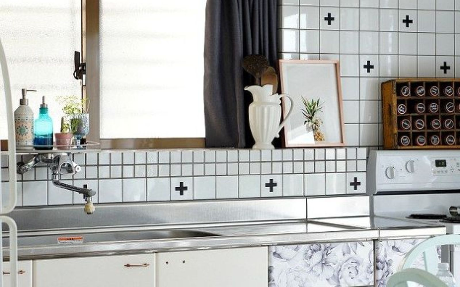 s 20 ways you never thought of using wallpaper, wall decor, Give you renter white cabinets a new look
