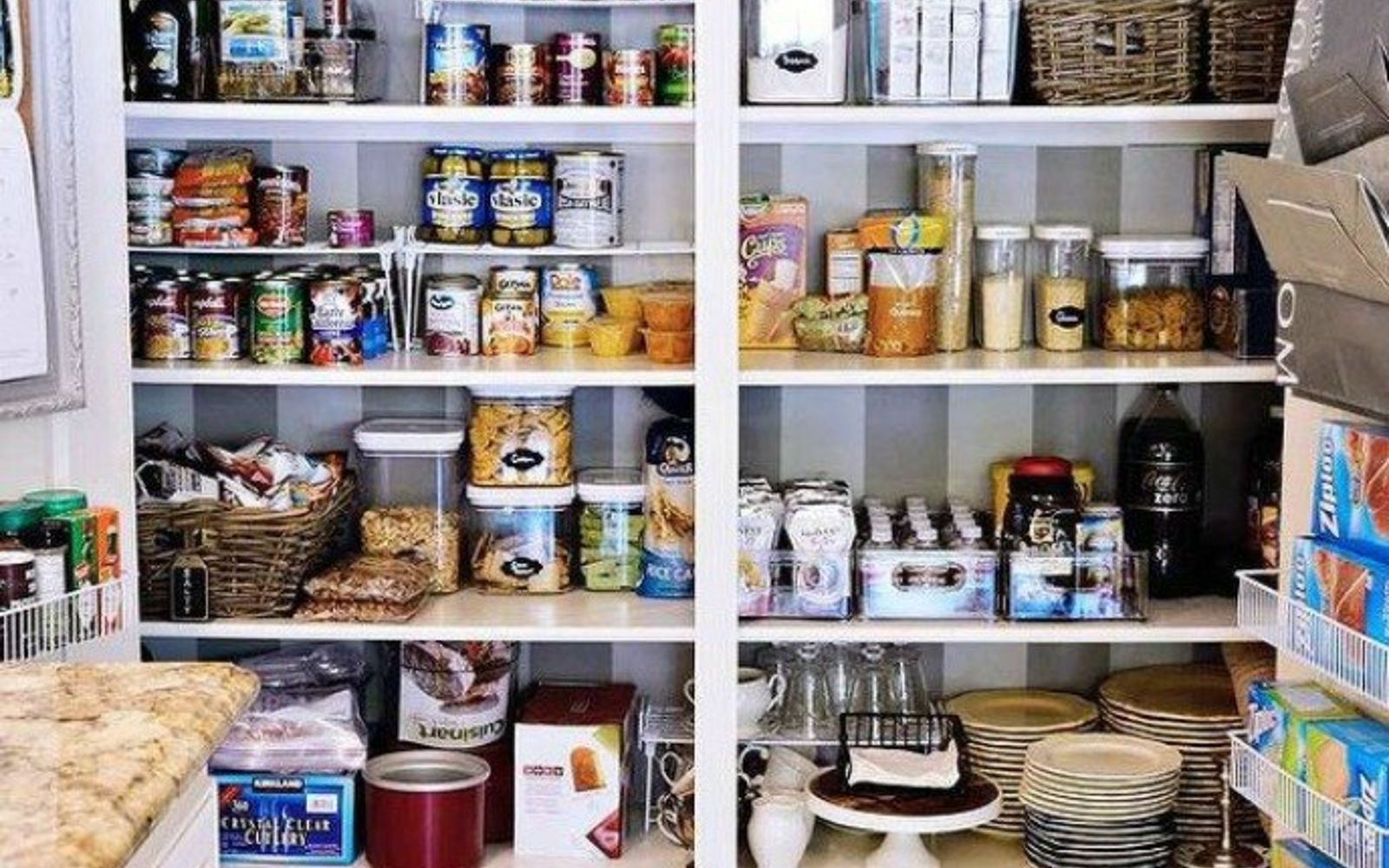 s 20 ways you never thought of using wallpaper, wall decor, Make your pantry look organized