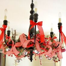a christmas ribbon holiday chandelier, crafts, lighting