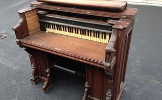 antique organ turned into a desk, painted furniture, repurposing upcycling