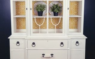 white breakfast hutch makeover, painted furniture