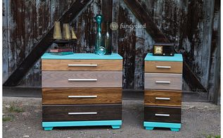 stained ombre dresser set, painted furniture