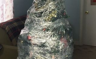 plastic wrapped christmas tree