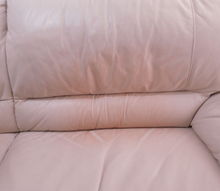 q red pillow stain on white leather couch, painted furniture