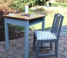 vintage school desk makeover, painted furniture
