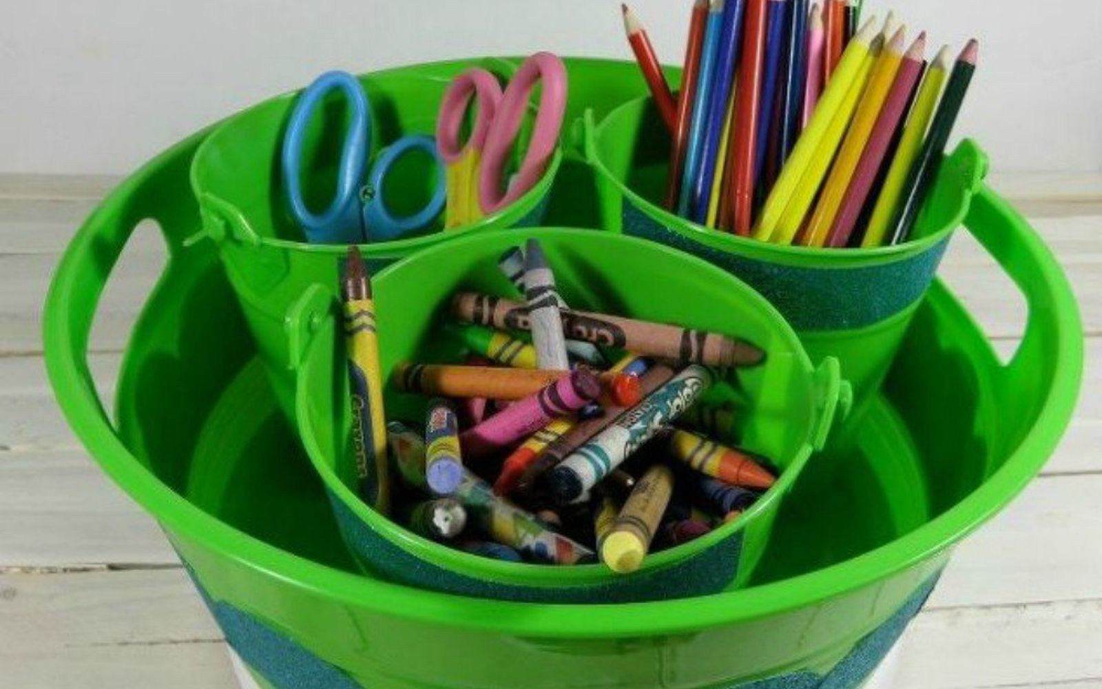 s you need to try these dollar store bucket ideas, Turn them into a craft supply caddy