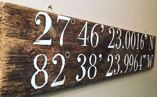 barn wood gps coordinates sign, crafts, outdoor living